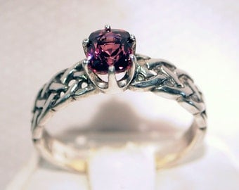 Ceylon Spinel Ring, 1.02 Carat, Sterling Silver, Braided Ring, Cushion Cut, Size 7 1/2