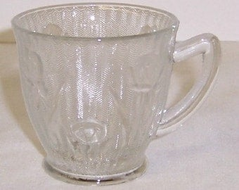 Jeannette Depression Glass Vintage Crystal IRIS and HERRINGBONE Demitasse Cup-Only
