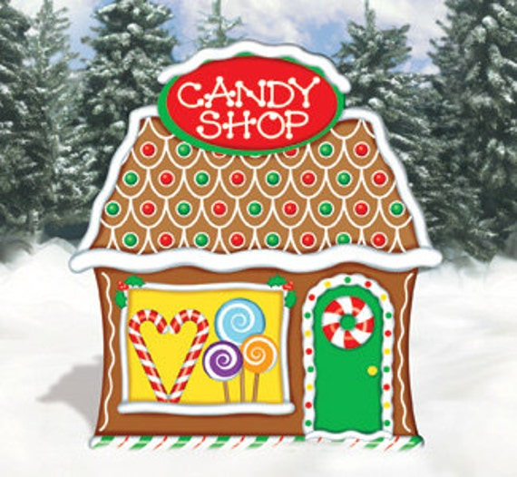 Outdoor Wooden Christmas Yard Decorations: Christmas Gingerbread Candy Shop Wood Outdoor Yard By