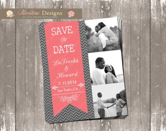 Chevron and Coral Save The Date DIGITAL FILE
