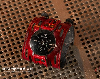 Fobos watch for women on red leather wristband