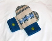 Wool Mittens - Upcycled Wool Mittens  - Handmade -  Tan and Blue -  Women -  Size Small/Medium