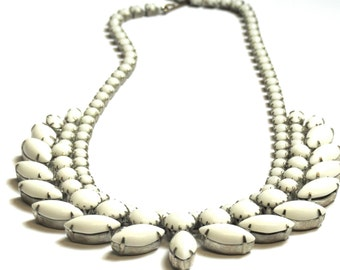 Vintage White Costume Necklace - 16 Inches long