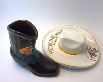 Vintage Hycroft Pottery Cowboy Hat and McMaster Pottery Cowboy Boot, Ceramic Souvenirs, Medicine Hat Alberta, Gimli Manitoba,