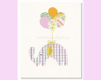 "The Purple Elephant 8x10"" Personalized Nursery Print, Nursery Art, Nursery Wall decor Baby Girl Purple Pink Elephant Print Mixed Media"