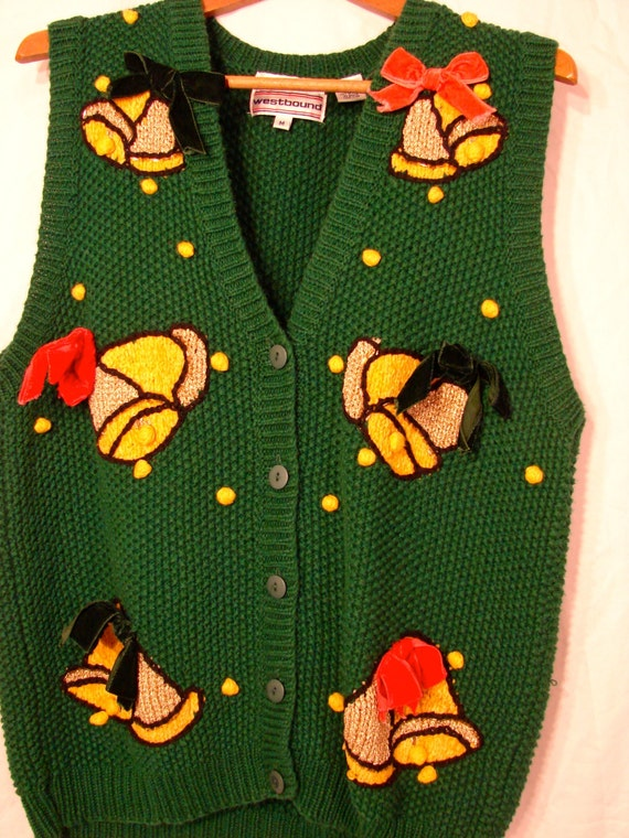Knitted sleigh bells ugly christmas sweater vest by spikednog for Knitted christmas bells