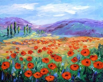 """Original Oil Painting Poppy Field Tuscany Italy Landscape 9x12"""" Canvas Palette Knife Impasto Textured Ready to Hang"""
