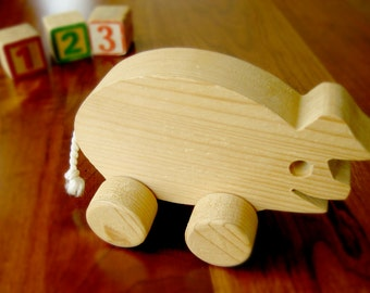 Wood Carved Rolling Pig Toy - Wooden Retro Toy - Farm Animal Toy - Handcrafted Barnyard Toy - Natural Wood Toy - Child's Stocking Stuffer