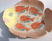 Pottery Fruit Bowl - Beach House Pottery - Unique Fish Shaped Bowl - Perfect for Outdoor Eating and Party Snacks