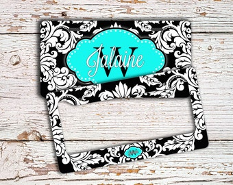 Personalized wedding gift, Monogram license plate or frame,Car accessory, Bicycle plate bike license plate, Damask black turquoise  (1285)