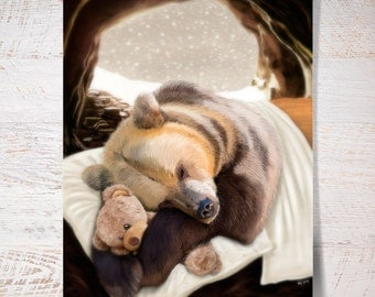 Bear in a warm bed with his teddy bear during winter night. Bear print bear poster print gift wall art print wall decor kids children