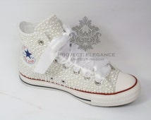 White Pearl Custom High Top Converse US 5 6 7 8 9 10