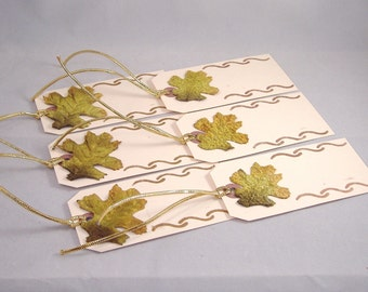 6 Fall Theme Blank Tags, Shades of Green & Gold Fall Leaf with Stencil Design and Gold Cord