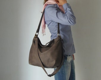 Dark grey hobo bag - Grey leather bag  - Soft leather bag - leather hobo bag -MEDIUM HELEN bag