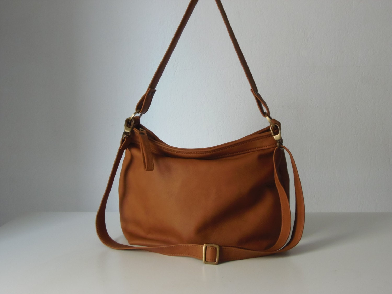 Tan leather hobo bag Leather hobo purse Soft leather bag