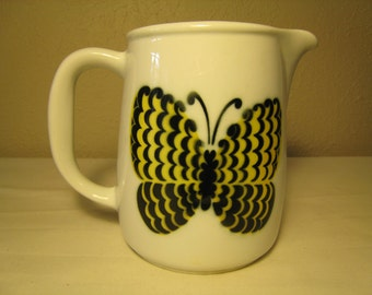 Arabia Finland PERHO Butterfly Pitcher Designed by Kaj Franck / Birger Kaipiainen - Mid Century Modern - Finnish Design
