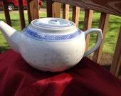 Vintage Blue & White Porcelain Rice Grain Teapot