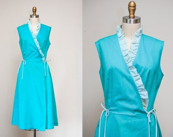Vintage 1970s Teal 'Ruffles & Bows' Wrap Dress / 70s Cotton Day Dress / Sleeveless / Size Medium