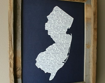 New Jersey In A Nutshell Word Art Map Print (Dark Blue) - Unframed