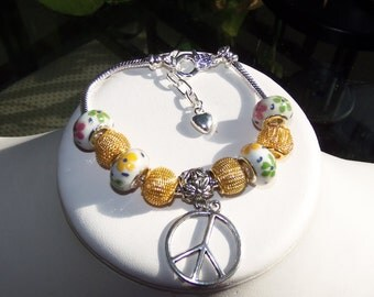 Yellow Murano Bracelet with Peace Charm