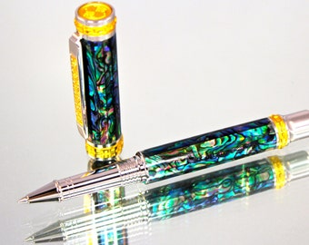 Hand Made Exquisite Rollerball Pen Made From Abalone Shell, Rhodium and 22k Gold