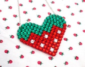 Sparkly Strawberry Heart Necklace - Red Green and Silver Fruit Lover Jewellery - Cute Kitsch Kawaii Love-Heart Pendant