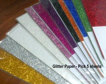Glitter Paper - Lightweight - Thin - Use with Dies and Punches - 5 sheets - A4 - Low Transfer - 12 colors to choose from