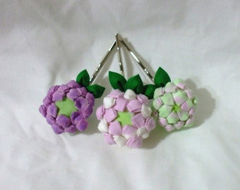 purple clover blossoms -  kanzashi flowers - set of three