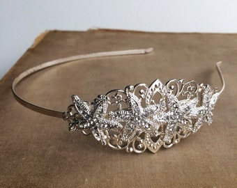 beach wedding headband, Beach wedding hairpiece,beach tiara, beach wedding headpiece, Beach Wedding hair accessories, SILVER