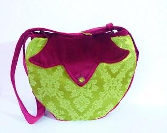"Boho Gypsy Medieval Fairy Brocade Velvet Bag Purse ""Derryth"" Marie Antoinette Romantic Green Pink Fuchsia Hippie Vintage Gothic Embellished"