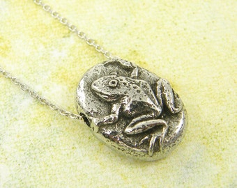Silver Frog Necklace, Toad Necklace, Safe Journey Necklace, Frog Pendant Necklace, Nature Jewelry Charm Quote Minimalist Jewelry  GS1-4