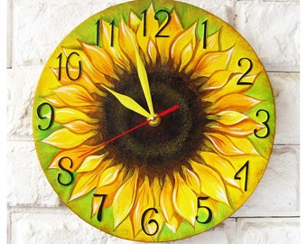 The Sunflower Wall Clock Home Decor, wall clocks handmade