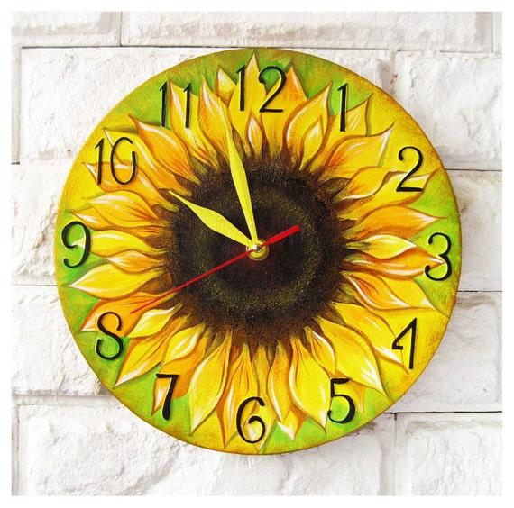 Sunflower Wall Clock White wall clock natural wood wooden
