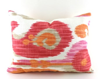 Lumbar Pillow Cover ANY SIZE Decorative Pillows Orange Pillow Ikat Pillow Braemore Journey Fruity