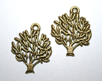 10 Antique Bronze Tree Charms/Pendants