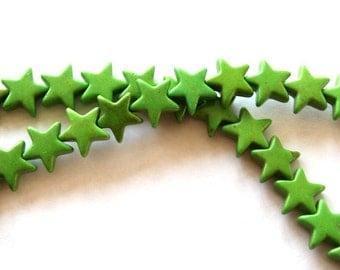 Full Strand of Green Turquoise Magnesite Star Beads