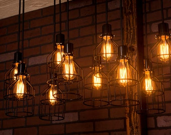 Industrial lighting, Industrial Chandelier, Black With Reclaimed Wood and 10 Pendants. R-1434-BC-10