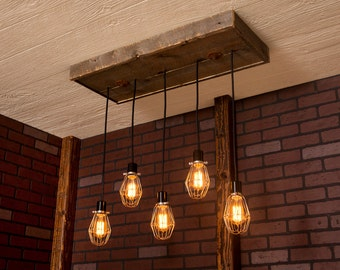 Industrial lighting, Industrial Chandelier, Nickel With Reclaimed Wood and 5 Pendants. R-1434-NC-5