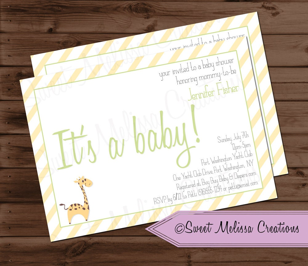 baby shower invitation gender neutral green yellow