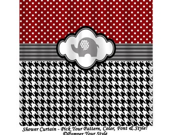 Alabama Shower Curtain   Houndstooth And Polka Dot Shower Curtain, Elephant Shower  Curtain   Dorm