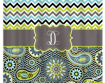 chevron and paisley monogrammed shower curtain chevron shower curtain paisley curtain aqua