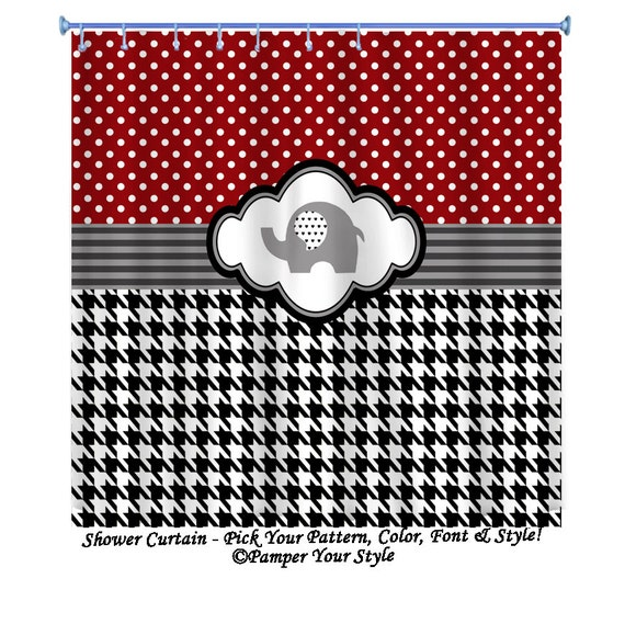 Alabama Shower Curtain - Houndstooth and Polka Dot Shower Curtain ...