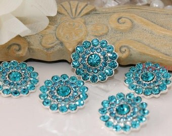 5 Blue Crystal Button Rhinestone - Shank Button - Coat Button - Metal Silver Button - Large Button Ornament Button Lot  Diy