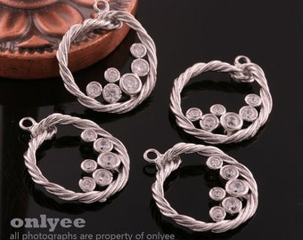 4pcs-18mmX21mm Rhodium plated over rope With Zircon pendants (K632S)