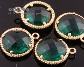 2pcs-12.5mm Gold Faceted Round glass with Rope Frame pendants-Emerald(M338G-C)