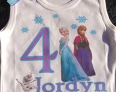 Girls and Babies Frozen Birthday Shirt Blue, White and Purple Great for Birthdays, Photo Props, Parties and Special Events