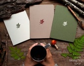 Forest notebook with a carved pattern - Leaf - set of 3 notebook