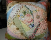 Lavishly Embellished Pastel Crazy Quilt Pillow