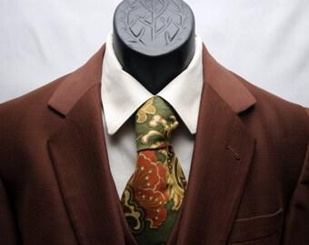 Vintage Brown Men's Slim Fit Jacket Vest Combo Size 38 Fully Lined