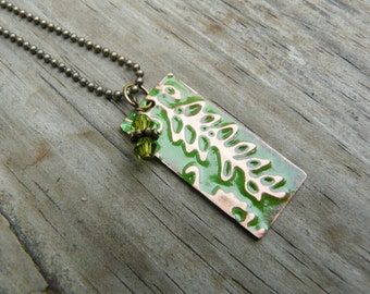 Green Fern Vintaj Copper Pendant Necklace.  Nature Jewelry.